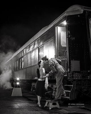 Wartime farewell with pullman coach B&W #2