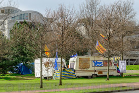 EDINBURGH, SCOTLAND, UK - 28 MARCH 2016: Holyrood independence protest camp in Holyrood Park outside the Scottish Parliament ...