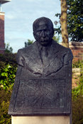 UK - Letchworth Garden City - A bust of the founder of Letchworth, Ebeneezer Howard