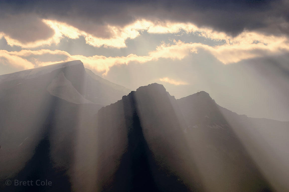 Sunrays over 3,505 mt. (11,500 ft.) Mt. Kitchener, Jasper National Park, Canadian Rockies