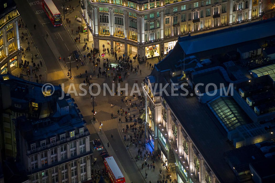 Aerial view of Oxford Circus Night, London