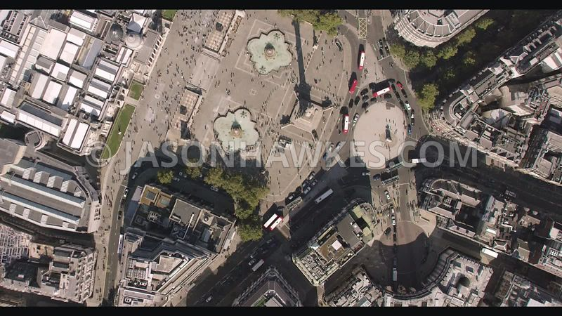 Aerial footage of Trafalgar Square, Nelsons Column, London . Direct.