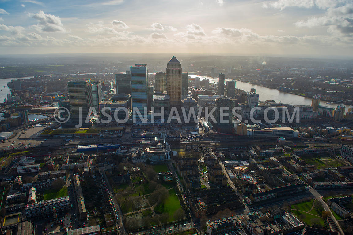 Aerial view of Poplar and Canary Wharf, London