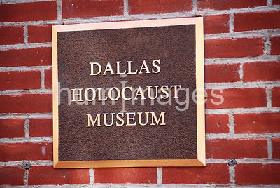 Dallas Holocaust Museum sign in downtown Dallas, Texas