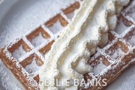 Belgian Waffle Topped with Whipped Cream