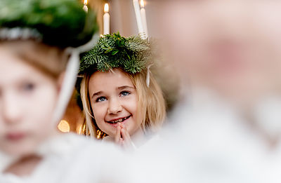 Young Nordic girl in a Saint Lucia procession