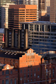 Aerial view of the Inner Harbor, Baltimore, Maryland, showing Barnes and Noble books and the backside of the Hard Rock Cafe