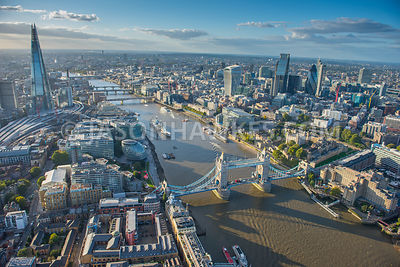 Aerial view of London, Tower Bridge and City of London.