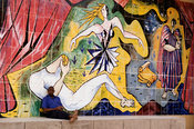 Mozambique, Beira, Mural at an old closed down theatre.
