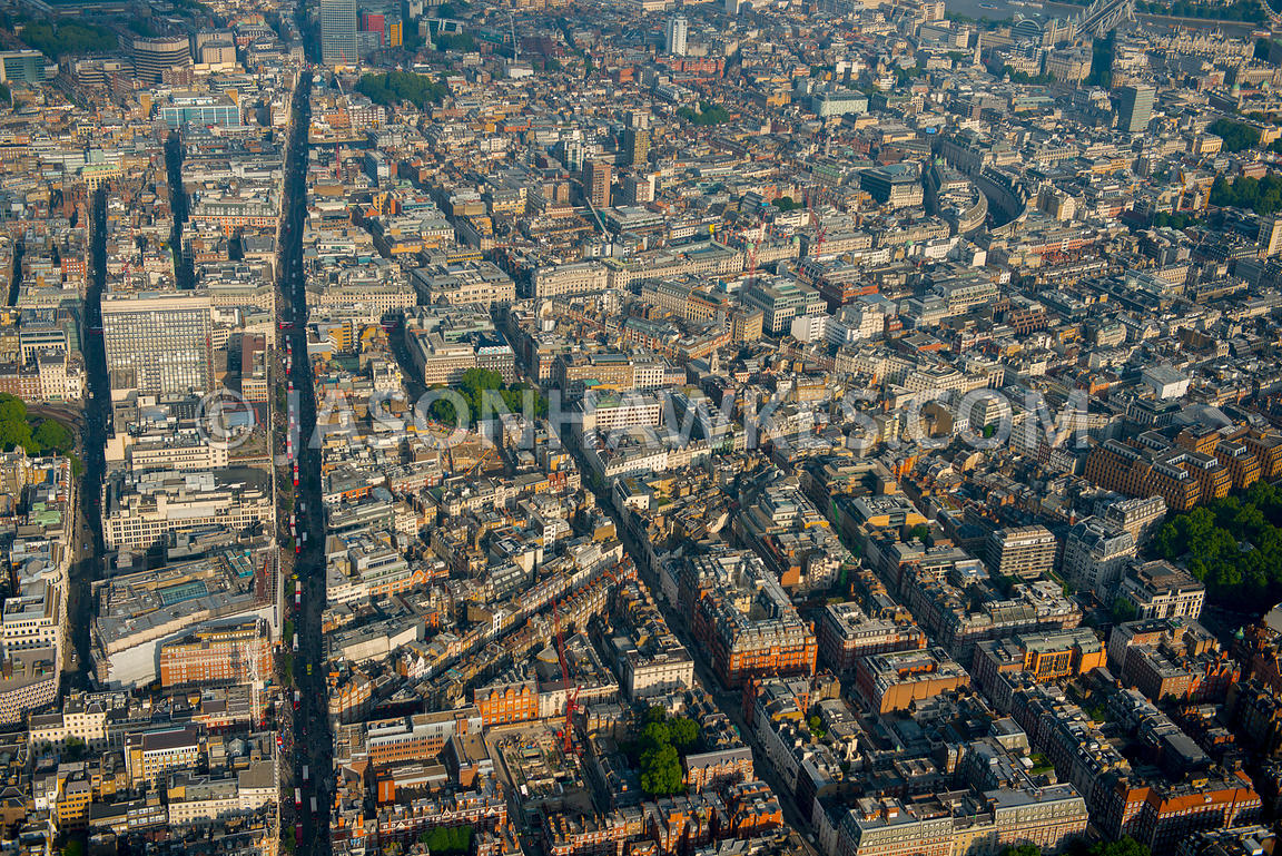 Aerial view over Oxford Street, London