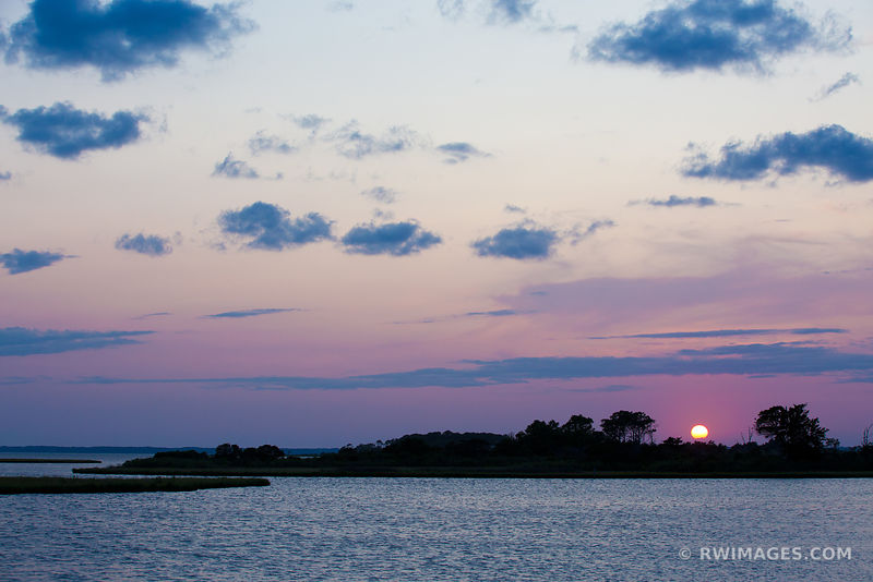 SUNSET OVER CHINCOTEAGUE BAY ASSATEAGUE ISLAND NATIONAL SEASHORE MARYLAND COLOR LANDSCAPE