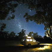 Night shot of camper truck at the Florida rest stop off of Barrier Highway, Route 32, New South Wales, Australia