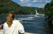 Tourists enjoying the launch trip on the Victoria Nile in Murchison Falls National Park, Uganda