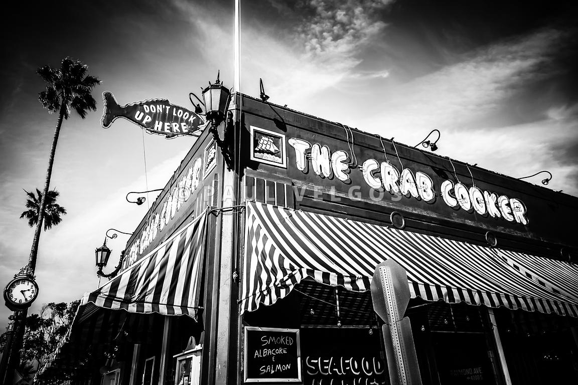 The Crab Cooker Newport Beach Black and White Photo