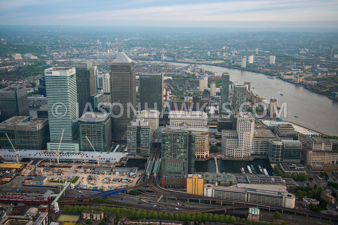 Aerial view of Crossrail construction, Canary Wharf, London