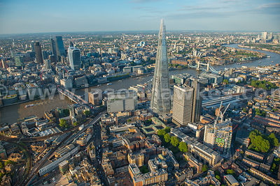 The Shard, Bermondsey, London, aerial view.