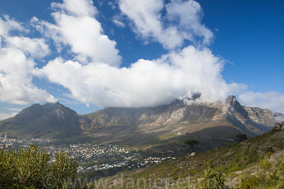Clouds spilling over Table Mountain in Cape Town.