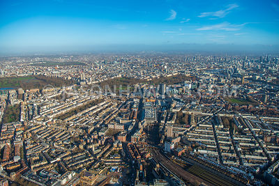 Aerial view of London, Belgravia with Pimlico towards Victoria and Westminster.
