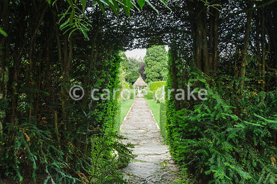 Opening in yew hedge between Leisure Garden and Herbaceous Borders. Rodmarton Manor, Rodmarton, Tetbury, Glos, UK