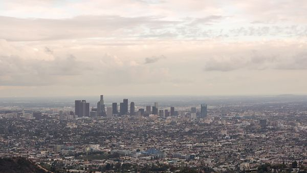 Bird's Eye: Pastel, Multi Cloud Layer, Tight Skyline Cityscape of Los Angeles