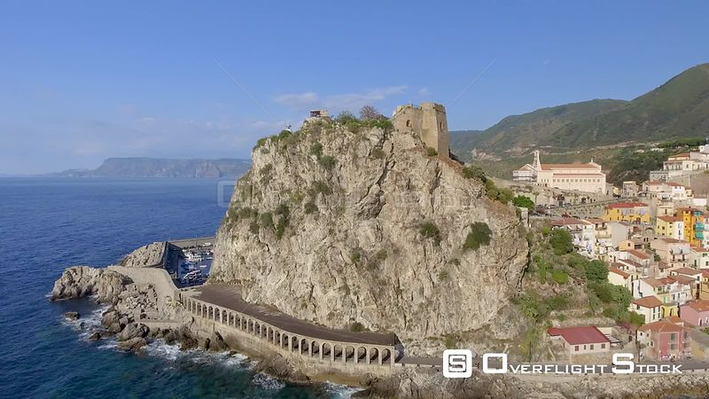 Aerial view of Scilla coastline in summer season, Calabria, Italy