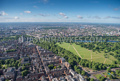Aerial view of London, Marble Arch, Mayfair, Park Lane and Hyde Park.