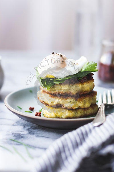 Spaghetti squash cakes and poached egg