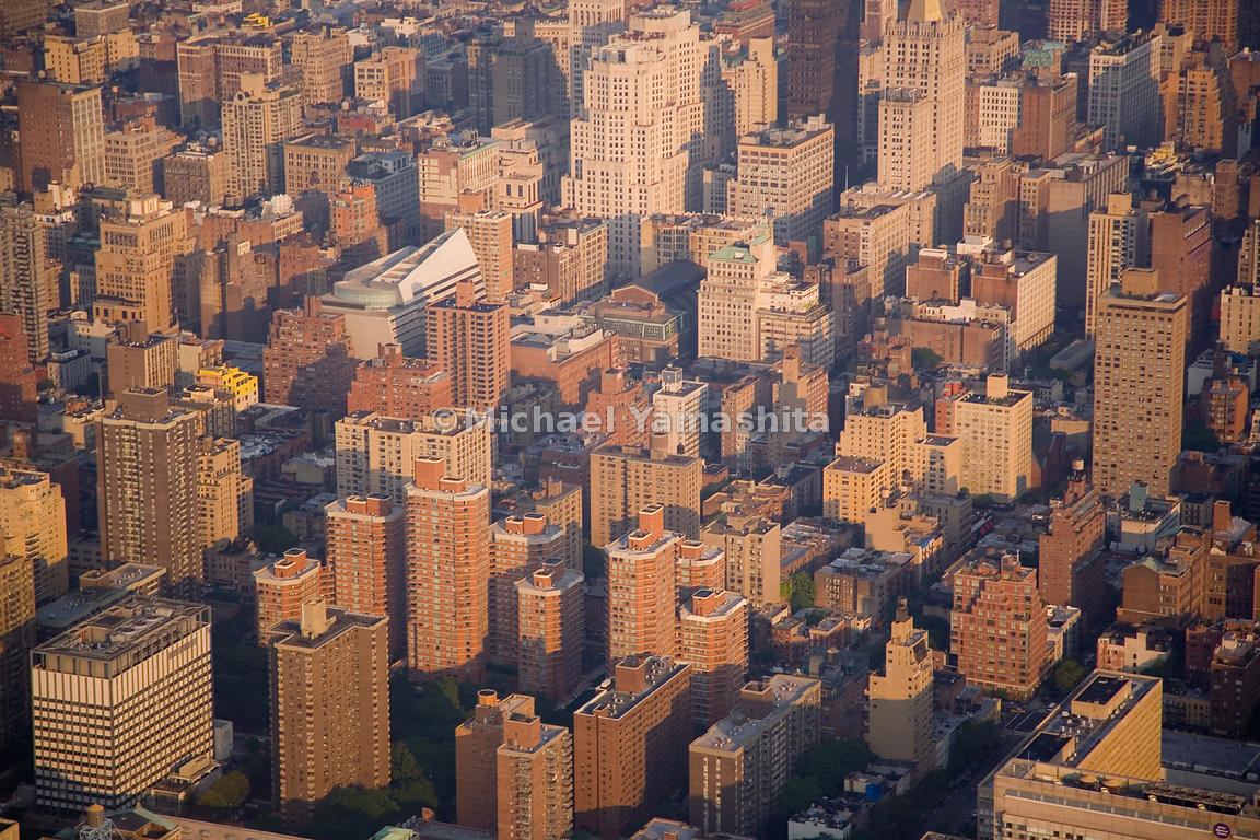 An aerial view of midtown Manhattan around Baruch College.