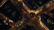 Aerial footage around Oxford Circus at night, Central London, England, UK