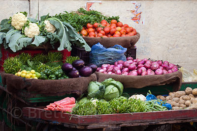 Beautiful vegetables for sale at a market near Dashashwamedh Ghat, Varanasi, India.