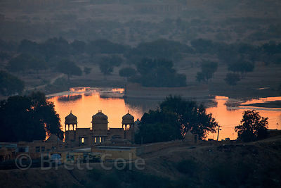 Sunrise over Gadi Sagar lake, Jaisalmer, Rajasthan, India