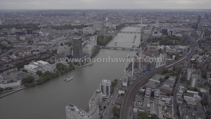 Aerial footage of the River Thames between Lambeth and Westminster
