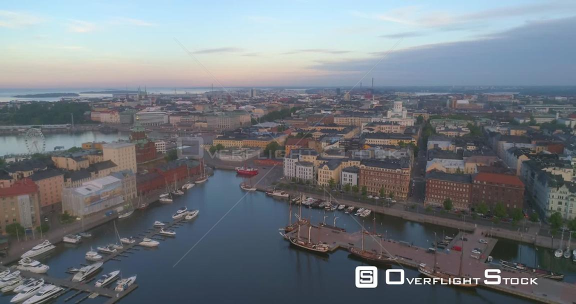 Sunrise City, Aerial View of the Cityscape and Churches of Helsinki, on a Sunny Summer Morning Dawn, in Helsinki, Uusimaa, Fi...