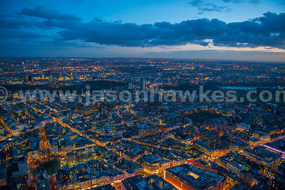 Aerial view of Mayfair at night, London