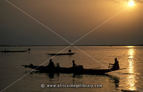 Pirogue at sunset on the Niger river, Mopti, Mali