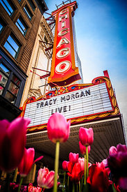 Pictue of Chicago Theatre Sign with Tracy Morgan