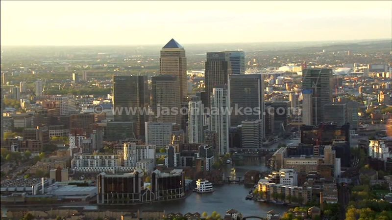 Aerial footage over Canary Wharf, Isle of Dogs, London, England, UK