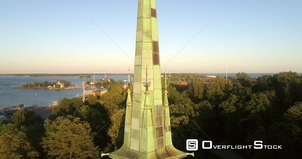 Helsinki City, Aerial View of Around the German Cathedral, Saksalainen Kirkko, Revealing the Cityscape, on a Sunny Summer Eve...