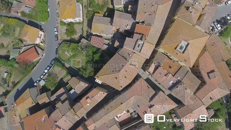 Guardistallo, Tuscany. Aerial view with cityscape and countryside. Italy