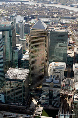aerial photograph of One Canada Square  London England UK
