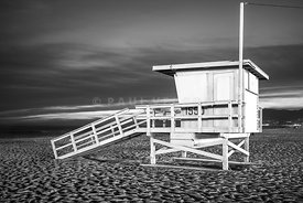 Santa Monica Lifeguard Tower 1550 Black and White Photo