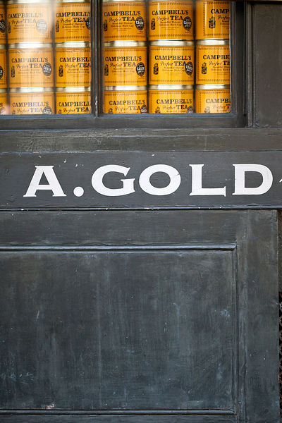 UK - London - Details of a the signage outside of A. Gold, a deli in Spitalfields Market
