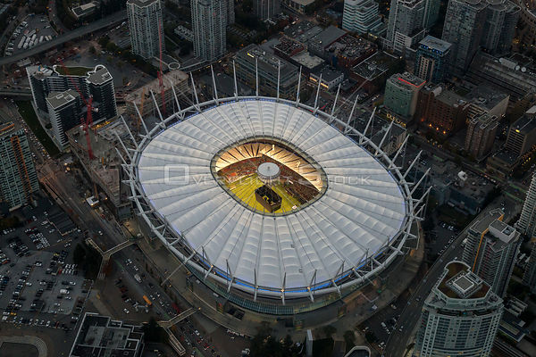 Open Roof on BC Place Stadium in Downtown Vancouver During a Soccer Game