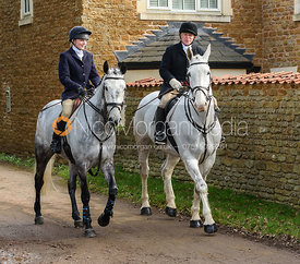 Helen Lovegrove, Mike Elson arriving at the meet. The Belvoir Hunt at Springfield Farm 23/2