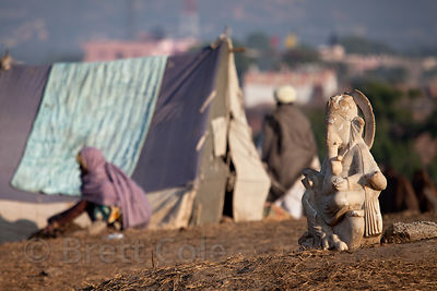 Ganesh idol near a tent at the 2010 Pushkar camel fair, Rajasthan, India