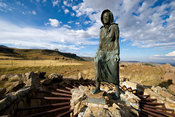 Statue of The Barefoot Woman (Kaal Voet Frou) near Retief Klip, Free State, South Africa