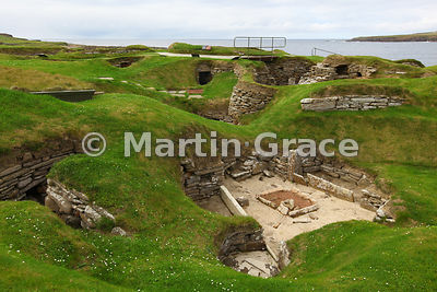 Skara Brae neolithic farming village, with House 9 in the foreground, West Mainland, Orkney Isles, United Kingdom