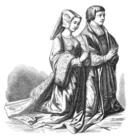 Medieval couple kneeling in prayer