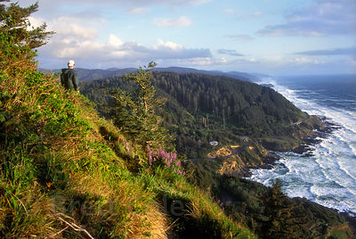 The spectacular central Oregon coast, looking south from Cape Perpetua, highest point on the coastline at 1.100 feet.