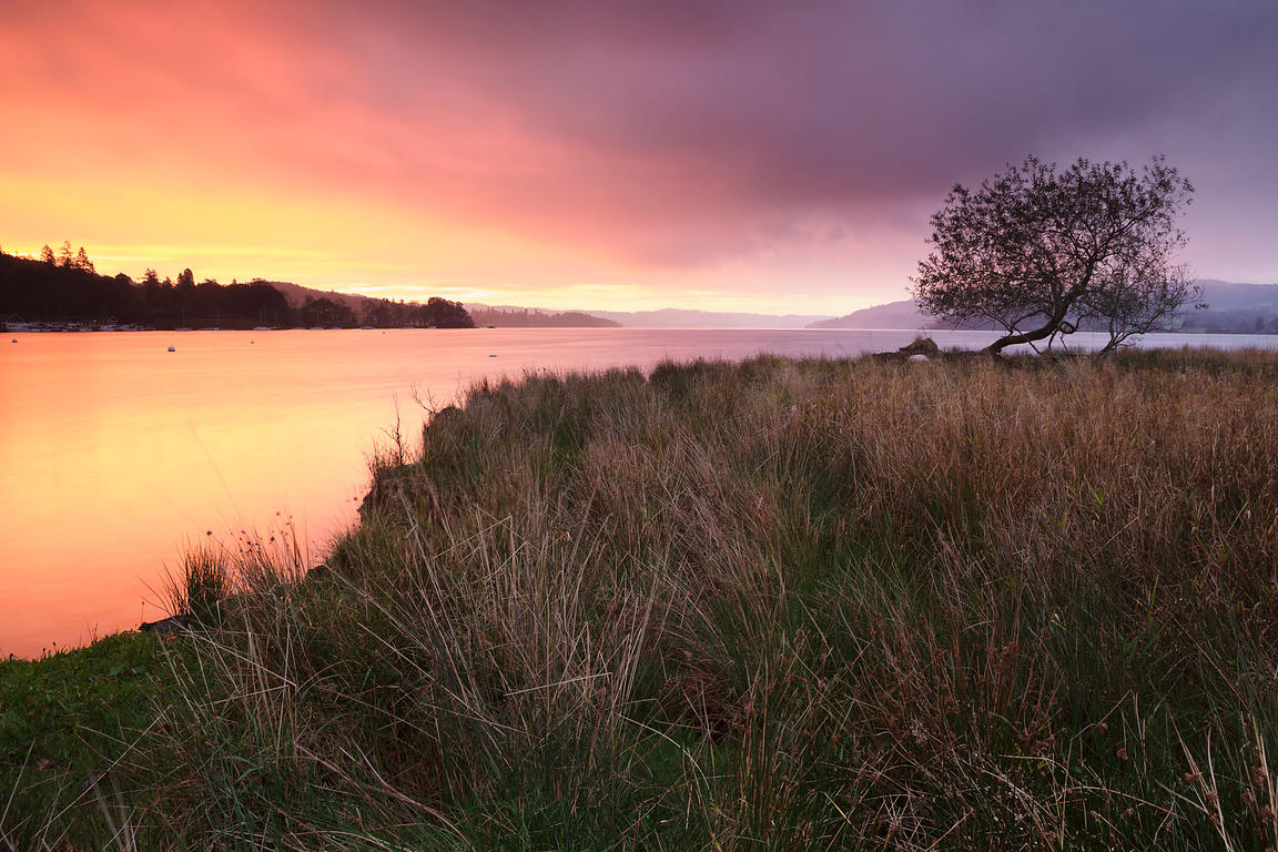 Colourful sunrise over Lake Windermere